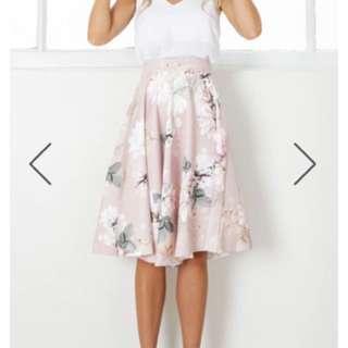 Showpo Floral Musky Pink Skirt