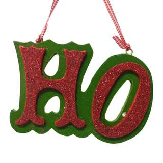 'HO' Christmas Tree Ornament Green & Red Color