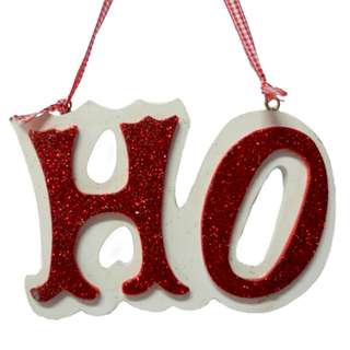 'HO' Christmas Tree Ornament White & Red Color