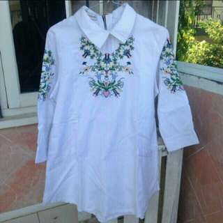 FREE ONGKIR-Embroidery white top