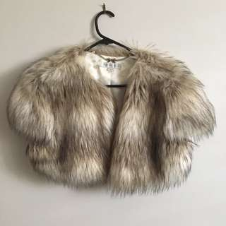 Forever New faux fur short mid jacket size 14