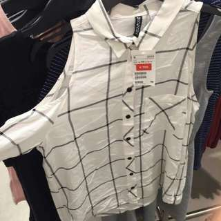 H&M Divided Checkered Button Down Blouse with Shoulder Cut Outs