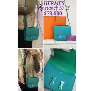 98% New HERMES Constance 18 7F Blue Paon Epsom 孔雀藍 H Logo 肩背袋 手袋 Handbag with H Logo
