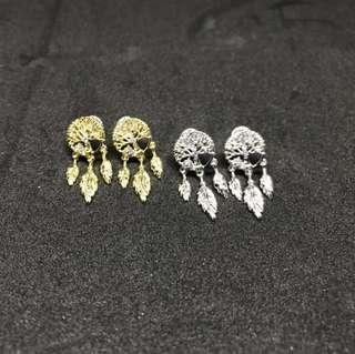 韓製-捕夢網垂吊式耳環銀針(兩色)