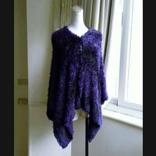 PESARO黃惠玲 紫黑相間 全開式 奢華絨毛罩衫
