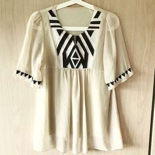 Korean nude tunic with embroidered neckline