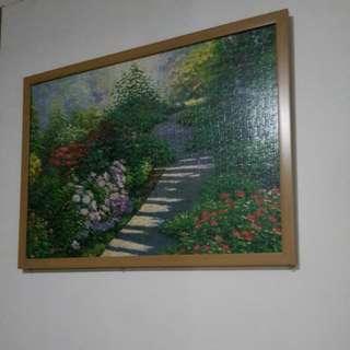 Garden puzzle framed