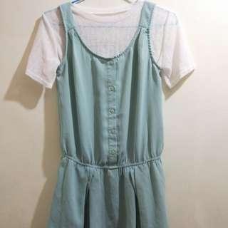 淺綠無袖洋裝❤送內搭衣