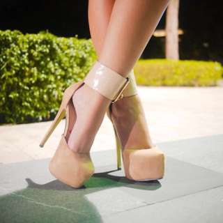 Nude Ankle Strap High Heels (7-7.5)