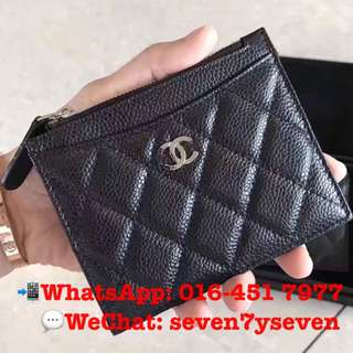 CHANEL Card Holder with Zip Caviar Leather [READY STOCK]