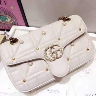 Gucci GG Marmont系列珍珠包包 443497 奶白