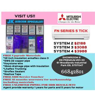 Aircon sales Mitsubishi Electric Starmex 5 tick FN series