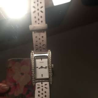 Guess White Leather Double Wrap Watch