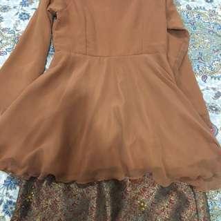 New long peplum top &  A cut saree skirt