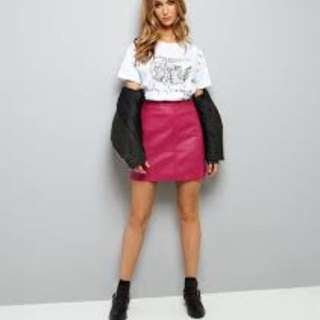 New Look Pink Leather Skirt