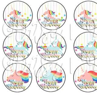Unicorn Toppers - Cupcakes / Cakes