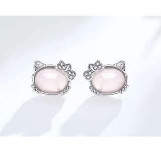 Silver 925 Plated Rose Quartz Hello Kitty Earring