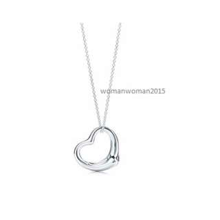 18K White Gold Plated Heart Necklace (Tiffany Inspired)