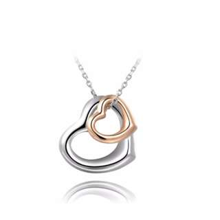 18K White & Rose Gold Plated Heart Necklace (Tiffany Inspired)