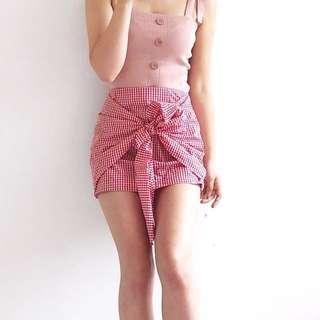 Gingham wrap tie skirt