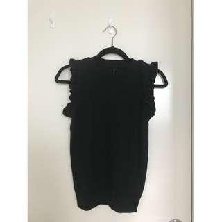 Brand New MRP Black Knitted Ruffle Sleeveless Top Size 8