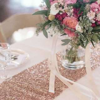 Champagne gold/Rose gold sequin table runner