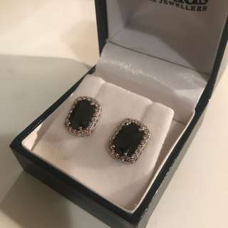 Prouds Black and Silver Jewel Stud Earrings