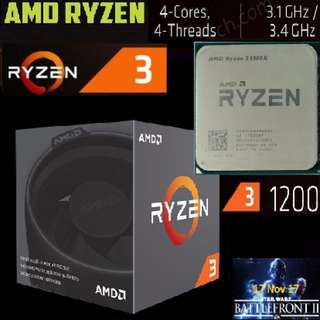 AMD Ryzen™ 3 1200 Processor (Quad Core, 3.1GHz Base, 3.4GHz Turbo)