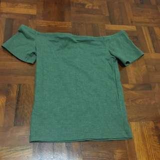 Green off shoulder crop top