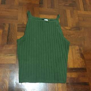 Green square neck crop top