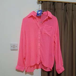 Forever 21 Blouse See Through Pink Neon