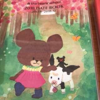 (Hold)購自日本 Bear's school bears' school 2018-2019 schedule book 月曆本 附送schedule book貼紙