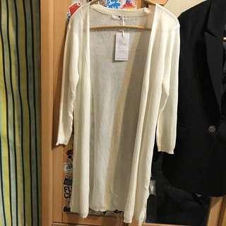 針織開巾式長版外套