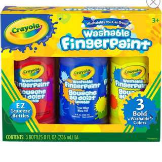 BNIB Crayola Finger Paints-Red/Blue/Yellow