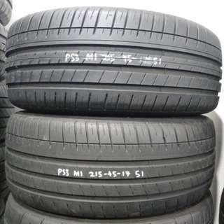 215-45-17 MICHELIN 米芝蓮 PS3 二手車呔 一對 95%新