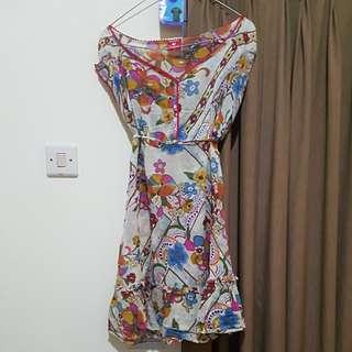 Cardinal Beachy Mini Dress See through (Baju Pantai) Ruffles Boho