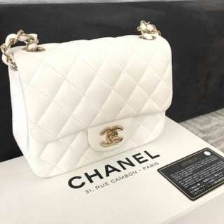 Chanel mini square lamb white ghw #23. Complete set box, paperbag, db, auth card, holo, booklet