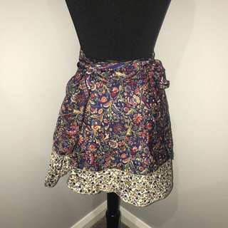 Tree of Life reversible silky print skirt