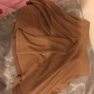 BROWN SOFT MATERIAL SKIRT