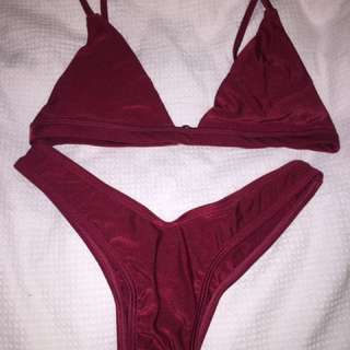 wine red metallic bikini set swimwear new