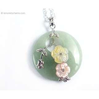 Green Aventurine Gemstone Pendant Necklace, nk1024-c