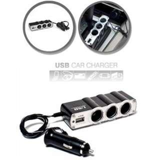 Socket Car Cigarette Lighter (3way) with USB charging