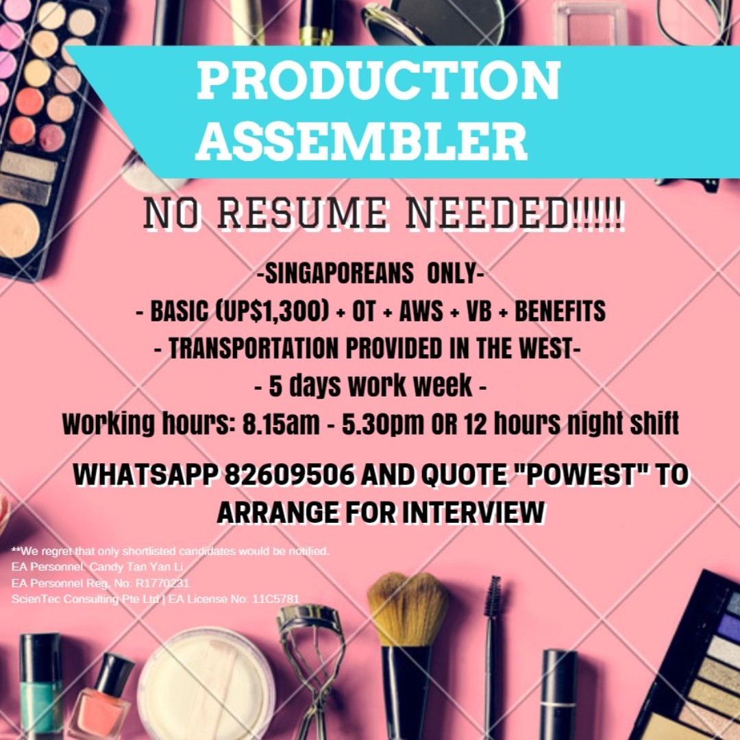 20 x perm production assembler west no resume needed jobs