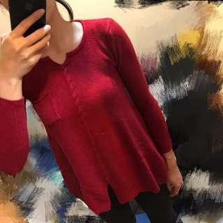 針織和身口袋麻花造型上衣