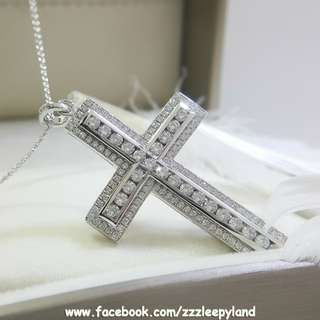 實物拍攝 超閃主石 925純銀6層包金5cm滿鑽十字架高炭鑽吊