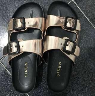 SIREN Birkenstock Rose gold sandals