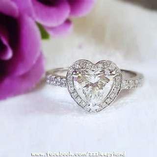 實物拍攝  超閃高炭鑽十心十箭 S925純銀6層包金主石1卡心型戒指