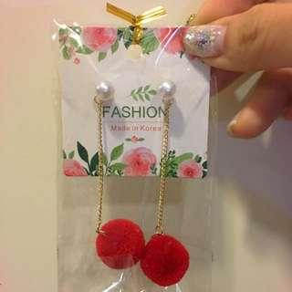 全新韓國紅色性感毛球長款耳環時尚甜美風