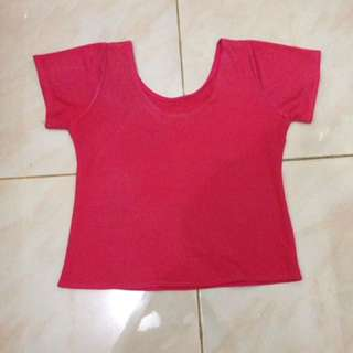 Crop top dark pink,ukuran fit to S-M