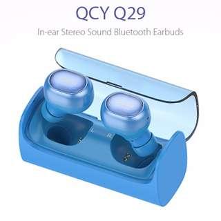 全新QCY - Q29雙耳式無線4.0藍牙耳機 –  藍色